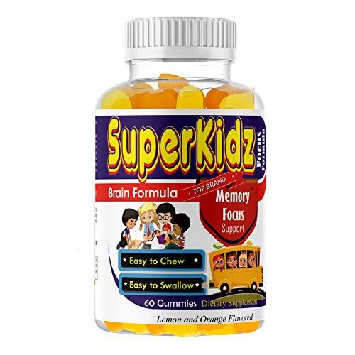 Kids Brain Focus Great Taste Chewable Gummies, Attention & Memory Help Formula For Children And Teens, Best Natural Omega 3-6-9 DHA For Kids Supplement Calming Mutlivitamins, School Study Task Support