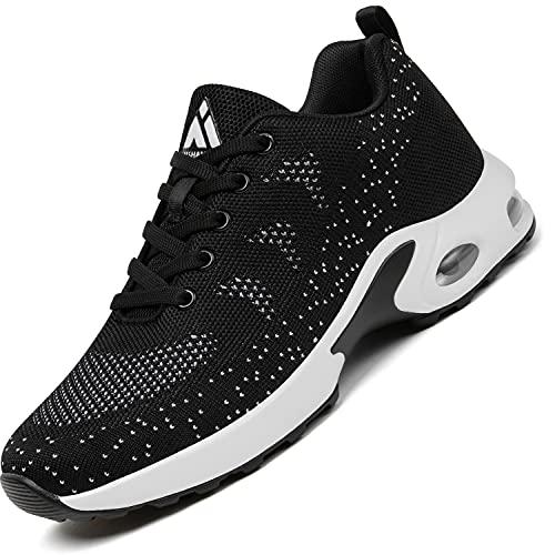 Mishansha Damskie buty do biegania Air amortyzujące, oddychające, lekkie, wygodne, rozmiar 35-42 EU, czarny - czarny - 36 EU