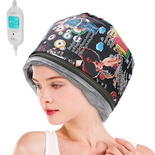 Gorro para vaporizador de cabello, 3 engranajes, control térmico eléctrico, control de temperatura, gorro para hornear, tratamiento con aceite, spa, herramienta de cuidado del cabello nutritivo(EU)