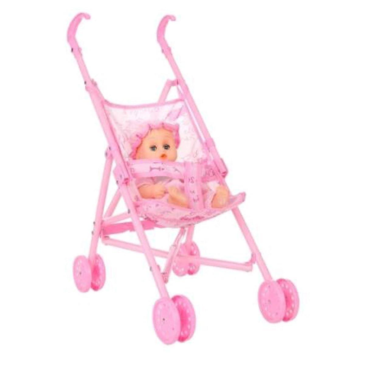 有名ドラッグラッシュTivollyff ベビー幼児の人形ベビーカーキャリッジ折り畳み式で人形12インチ人形バービーミニベビーカーのおもちゃのギフトピンクのために ピンク