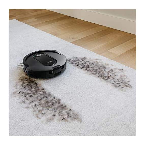 Shark IQ RV1001, Wi-Fi Connected, Home Mapping Robot Vacuum, Without Auto-Empty dock, Black 11 Unbeatable suction vs. any Shark robot vacuum for pickup of large and small debris, as well as pet hair on carpets and hard-floors. Self-cleaning brushroll removes pet hair and long hair from the brushroll as it cleans--no more hair wrap. Schedule whole-home cleanings or target specific rooms or areas to clean right now with the Shark Clean app or voice control with Amazon Alexa or Google Assistant.