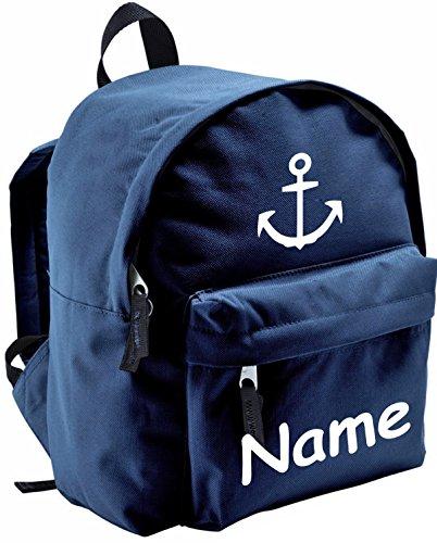 ShirtInStyle Kinder Rucksack Anker, Marine, mit Name veredelt, ideal für Kita, Farbe blau