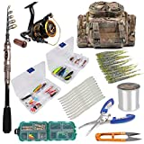 Dr.Fish Fishing Pole and Reel Combos Package Outfit 125pcs Full Kit Lines Lure Bait Accessories Fishing Carrier Bag Gear Organizer Saltwater Freshwater