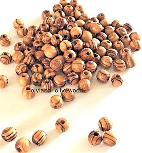 600 ~ cuentas redondas de madera de olivo pulidas rosario joyas Tierra Santa Belén Jerusalén (6 mm)