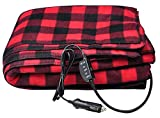 H-Hour Electric Blankets - 12V Electric Car Heating Blanket Fleece Blanket for Winter Cold Weather Car Travel and Camping Use (Black/Red)