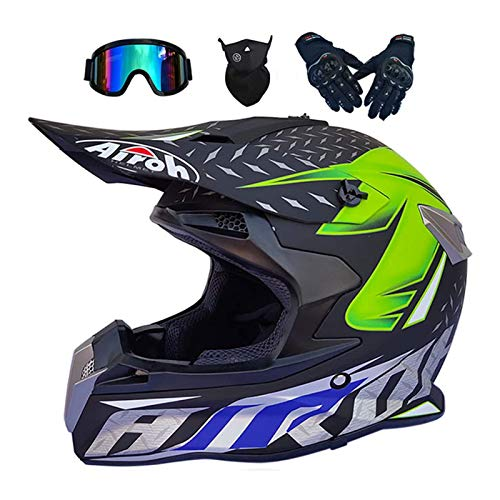 Casco Motocross Niño, Integrales set con Guantes+Gafas+Máscara, DTC & ECE Certificación, Cascos Motocross para BMX Bicicleta Dirt Bike MTB ATV Offroad DH, Verde Negro
