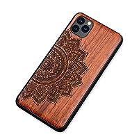 MQman iPhone11 ケース 木製カバー ローズウッド素材 原木 エンボス加工 アイホン天然木カバー 耐衝撃ソフトフレーム (iphone11, ハーフ花)