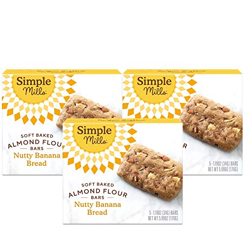 Simple Mills Almond Flour Snack Bars (Nutty Banana Bread) with Organic Coconut Oil, Chia Seeds, Sunflower Seeds, and Flax Seeds, Great for Stocking Stuffers, 3 Count (Packaging May Vary), 17.97 Ounce