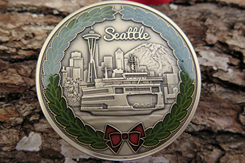 DKC-1600-B SEATTLE Christmas Ornament Custom Hand Engraved Minted In Antique Brass 1.75' Diameter 1.8 oz MINT SERIES