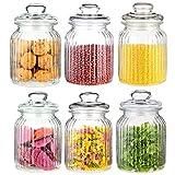 6 Vorratsdosen Glas Set / Vorratsglas Groß 1000ml I Luftdicht mit Dichtung I Bonboniere Vorratsbehälter für Lebensmittel