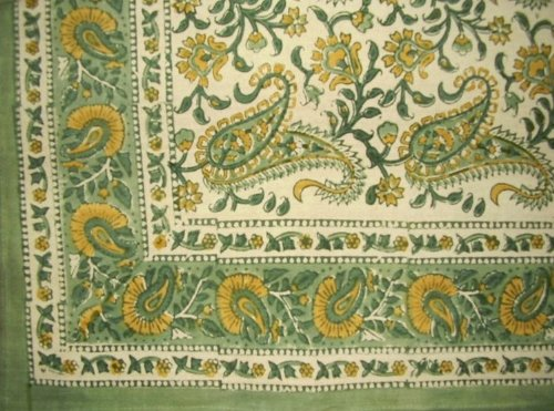 HOMESTEAD Block Print Rajasthan Paisley Cotton Tablecloth 90' x 60' Green