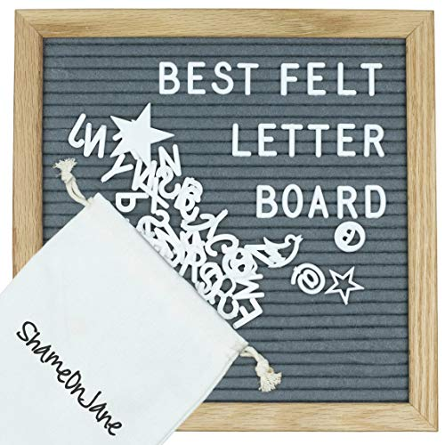 ShameOnJane Grey Changeable 10 x10 Felt Letter Board - Oak Wood Frame - with Pre Cut Letters and Symbols for a Message Board, Letter Sign for Announcements, Menus and Home Decoration (Grey)
