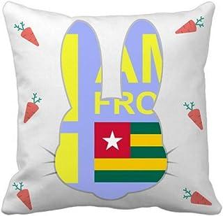 OFFbb-USA I Am from Togo Rabbit - Funda de almohada cuadrada