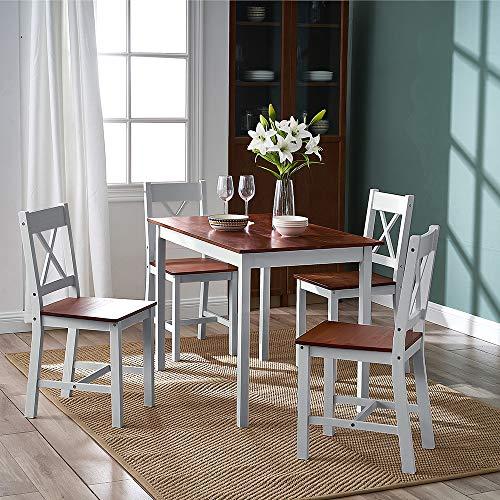 Esstisch-Set aus massivem Kiefernholz, mit 4 Stühlen, X-Form, für Küche, Zimmer (X-Form, Braun / Grau)