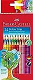 Faber Castell 112424 - Pack de 24 ecolápices triangulares, agarre Grip, acuarelables, multicolor, lápices escolares, multicolor