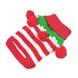 Striped Christmas Pet Sweater Knitwear Costume for...