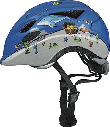 ABUS Anuky Kinderhelm - Kleinkinderhelm mit Rücklicht - für Mädchen und Jungs - 8129 - Blau mit Unterwasser-Muster, Größe M