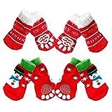 GUGULUZA ペット ソックス 人気 可愛い 犬靴下 肉球保護 滑り止め 秋冬 厚手 8足で2セット 暖かい 室内 ソックス セット (L, クリスマス靴下 セット-A( 2色8個))