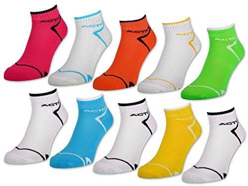 6 oder 12 Paar NEON Sport Sneaker Socken Damensocken mit verstärkter Frotteesohle - 36850 (Neon/Weiß | 39-42, 12 Paar)