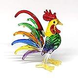 ZOOCRAFT Country Kitchen Decor Miniature Hand Blown Art Glass Rooster Chicken Figurine