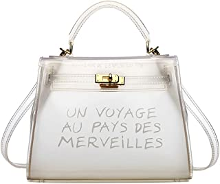 Women Clear Handbag Jelly Transparent Crossbody PVC Purse (White, Large)