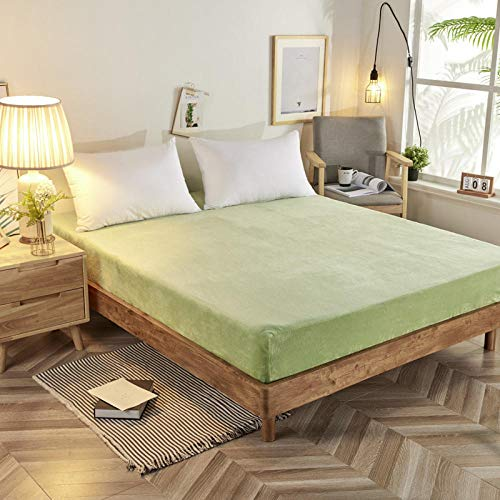 Deep Fitted Bed Sheets,Polyester Fiber Winter Solid Color Thick Flannel Fitted Sheet, Double-Sided Plush Thermal Mattress Protector-Light_green_120*200+30cm