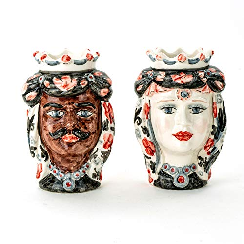 Moro-Köpfe H 14 cm aus Keramik aus Caltagirone handgefertigt