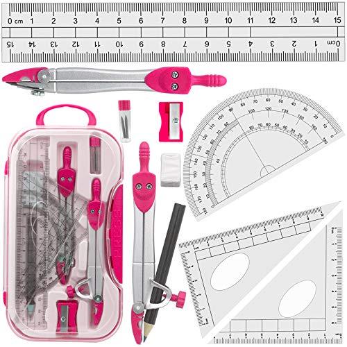 Geometría Compases Matemáticas para estudiantes en estuche de transporte, rosa