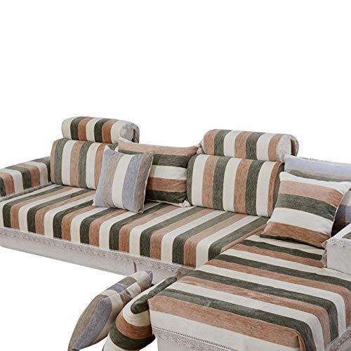 Fundas de sofá de Chenilla a Rayas,Funda de sofá seccional,Funda de sofá,Funda de sofá Reversible para Mascotas,niños,niños,Perros,Gatos,café,90X160cm