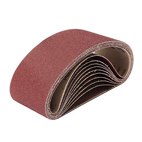 Schleifband, 75 mm x 457 mm, Körnung 60/80/120/180/240/320/400/600/800/1000, Bandschleifer für Holzbearbeitung und Metallpolieren, 10 Stück Aluminiumoxid-Schleifband