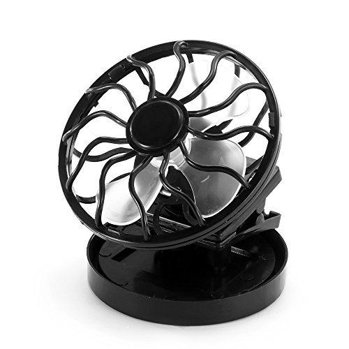 Cooling Fan, Portable Solar Powered Mini Air Conditioner Fan Panel Air Cooler Round, Black