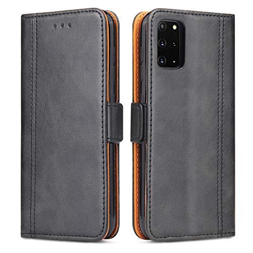 Bozon Handyhülle für Galaxy S20 Plus, Lederhülle mit Kartenfächer, Schutzhülle mit Standfunktion, Klapphülle Tasche für Samsung Galaxy S20 Plus (Schwarz)