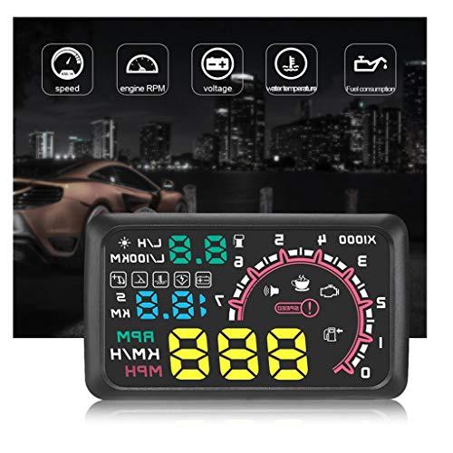 ErYao Digital HUD Speedometer Display OBD II or EUOBD Head Up Dispaly Speedometer Car Truck Odometer with Over Speed Warning/Car Clock / 5.5inch Windshield Projector (Black)