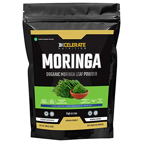 XCelerate Nutrition Organic Moringa Powder 1Kg / 1000g - Certified Organic, Premium Quality | Rich in Dietary Fibre, Plant Protein, Minerals & Anti-oxidants | Vegan | Superfood