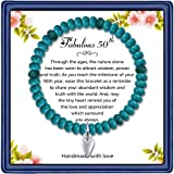 50th Birthday Gifts for Women, Beads Birthday Bracelet for Her 50 Years Old Jewelry Gift Ideas for Mom Sister Best Friend Wife Birthday Gift(Turquoise)