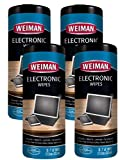 Weiman Electronic Screen Cleaner Wipes - 4 Pack - Non Toxic Safely Clean Your Laptop, Computer, TV, and All Electronic Equipment - Electronic Wipes - 30 Count