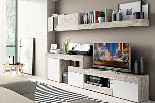 Mobelcenter - Mueble Salón Logan 003 - Blanco y Vintage - 270x39x77 (0799)