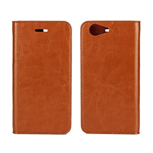 シャップ Sharp AQUOS ZETA SH-04H / SHV34 / 506SH ケース 手帳型 Zouzt 本革レザー 財布型カバー カード収納 横置きスタンド機能 二つ折り ベルトなし マグネットなし 軽量 手作り 耐久性 ライトブラウン