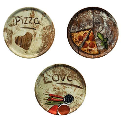 MamboCat 3-er Set Pizzateller Ø 31cm Volldekor Motive Lieblings-, Oliven- & Salami Pizza I große Teller aus Porzellan zum Anrichten für Pizza und Co oder zum Servieren als Wurst und Käseplatten