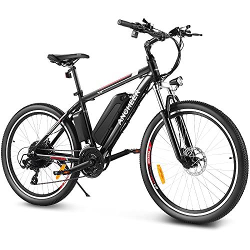 ANCHEER Bicicletta Elettrica, 26''/27,5'' Mountain Bike Elettrica, Ebike per Adulti con Batteria Rimovibile 36V/8Ah/10Ah/12,5Ah, Bici elettrica da Città con Sospensioni Anteriori e 21 Velocità