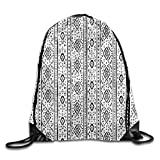 Etryrt Mochilas/Bolsas de Gimnasia,Bolsas de Cuerdas, Drawstring Backpack Grunge Aztec Pattern with Native American Indian Effects Folk Culture Drawstring Gym Sack Sport Bag for Men and Women