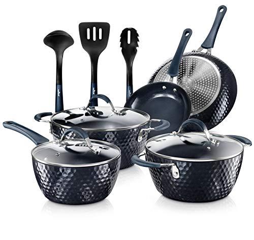 Nutrichef Excilon - Juego de ollas y sartenes antiadherentes con cacerola, ollas, tapas, utensilios de cocina sin PTFE/PFOA/PFOS, 11 piezas, diamante azul
