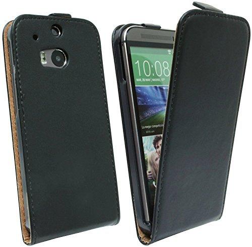 ENERGMiX Klapptasche Schutztasche HTC ONE M8 in Schwarz Tasche Hülle