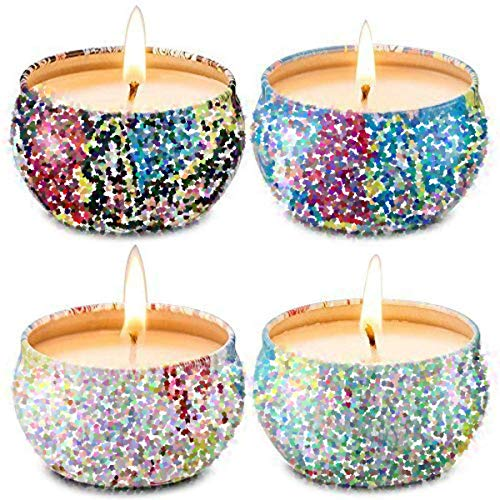 Scented Candles Gift Set - Jasmine, Lotus, Lilac Blossoms & White Gardenia, Soy Wax Portable Travel Tin Candle, 4 Pack