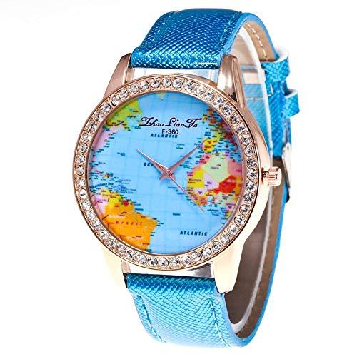 Modische Damenuhr, Stilvolle Damen Strass Dial und Lederband Armbanduhr(Blau)