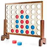 Costzon Giant 4-in-A-Row with Carrying Case & Coins, Premium Wooden 4-to-Score Giant Game Set for Kids and Adults, Portable Party Family Game for Outdoor Indoor Backyard Lawn, Connect Game (Natural)