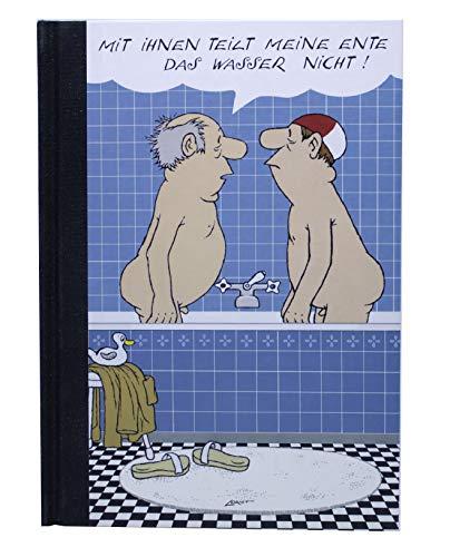 Notizbuch Hardcover A5 Blanko Limited Edition Journal Tagebuch Geschenk Loriot Herren im Bad