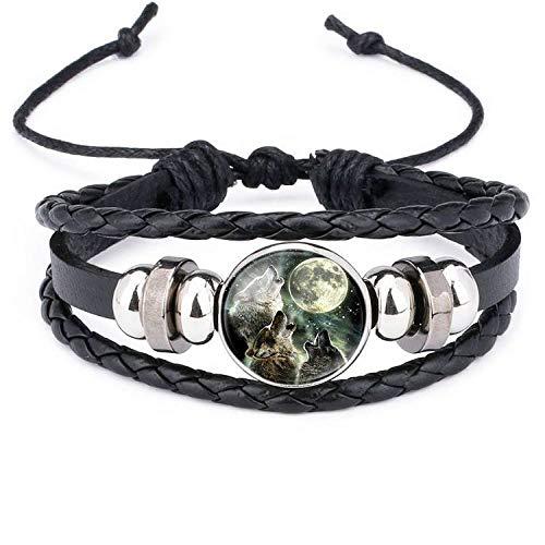 age tressé corde bracelet noir multicouche torsion en cuir...