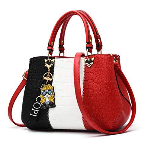 Maysurban Damen Handtasche Mehrfarbig PU Leder Henkeltasche Modern Designer Frauen Umhängetasche Shopper Groß Schultertasche Rot