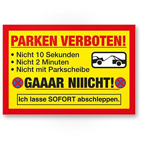 Komma Security Parken Verboten Kunststoff Schild Lustig 30 x 20 cm Parkverbotsschild Privatparkplatz - Verbotsschild Hinweisschild Parkplatz freihalten - Parkverbot Schild Warnhinweis